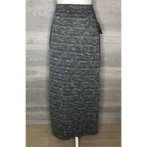NWT Heathered Grey Black White Maxi Skirt Small